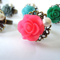 Genuine Freshwater Pearl Flower Cabochon Ring
