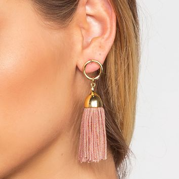 Natalia Tassel Earrings - Mauve