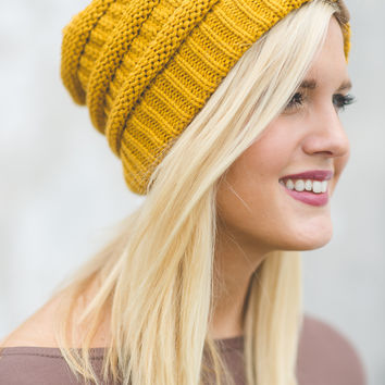 Cozy Knitted Beanie (Mustard)