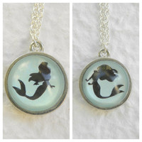 Under the Sea Double Sided Petite Necklace - Inspired from Disney's The Little Mermaid featuring Ariel