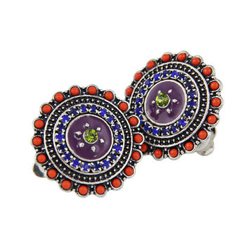 Fashion Clip Earrings Women Bohemian Vintage Purple Enamel Crystal Beads Big Indian Clip Earrings Jewelry
