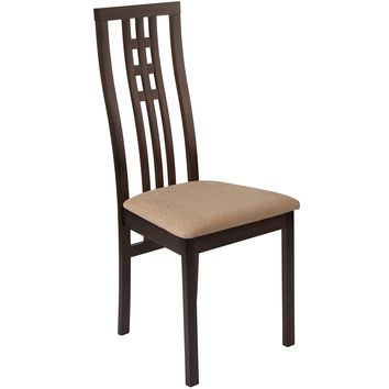 Phillips Wood Dining Chair with Triple Window Pane Back and Fabric Seat