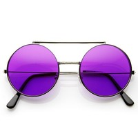 zeroUV - Limited Edition Color Flip-Up Lens Round Circle Django Sunglasses (Purple)