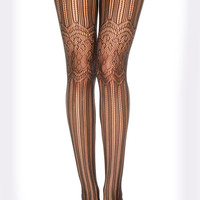Black Floral Lace Pantyhose