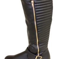 Black Stitched Knee High Boot With Gold Zip Accent