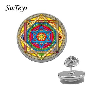 SUTEYI New Design Print Picture Brooch Mandala Buddhism Meditation Clothes Shirt Lapel Pins Glass Brooches For Women Jewelry