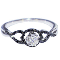 Black Diamond Ring 1/4CTTW 10K White Gold With White Diamonds Fashion Engagement