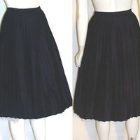 50s Black Pleated Rockabilly Vintage Skirt | NeldasVintageClothing - Clothing on ArtFire