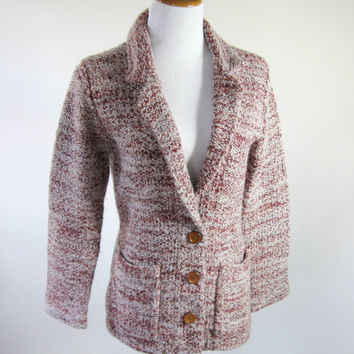 60s Cardigan Sweater Blazer Marled Maroon Womens Medium