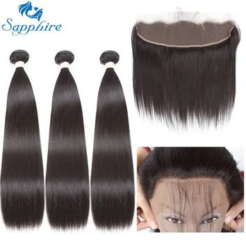 Sapphire Straight Remy Human Hair Bundles With Lace Frontals 1B# Color For Hair Salon High Ratio Longest Hair PCT 15% Free Part