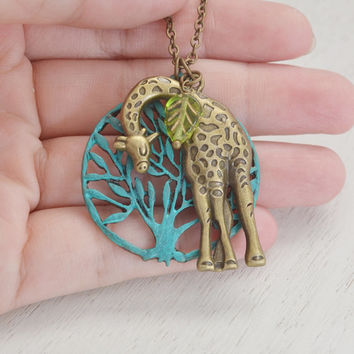large giraffe necklace, bridesmaid, tree of life, tree necklace, charm necklace, animal jewelry long necklace, wedding, wild life safari