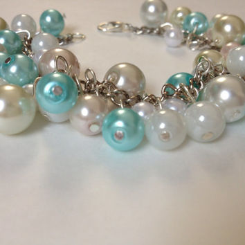 Dollar Days Sale: Beaded Bracelet White and Caribbean Blue, silver