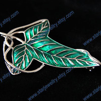 The fellowship logo of LOTR of the ring elven leaf brooch--Alloy platinum Plated & Green enamel