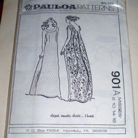 Pauloa Patterns 901A Hawaiian Dress Sewing Pattern Elegant Classic Hawaii Misses Size 6 10 14 18 Semi-Fitted Full Length Angel Back A-Line
