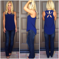 Morning Star Cutout Tank - NAVY