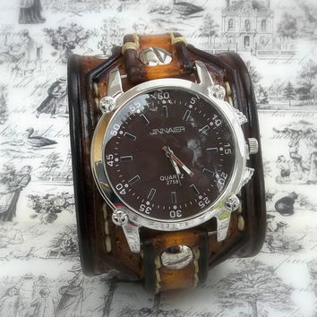 Tobacco Brown Leather Cuff Watch, Wrist Watch, Men's watch, Bracelet Watch, Watch Cuff