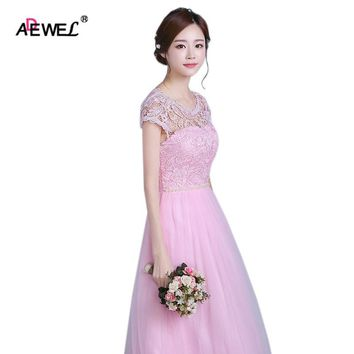 ADEWEL Cute Pink Women Summer Mesh Lace Wedding Wear Party Dress Tradictional Maxi Long Formal Dresses