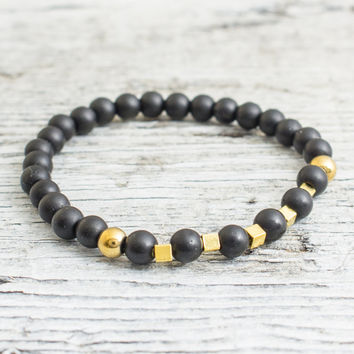 Matte black onyx beaded stretchy bracelet with gold plated hematite beads, custom made yoga bracelet, mens bracelet, womens bracelet
