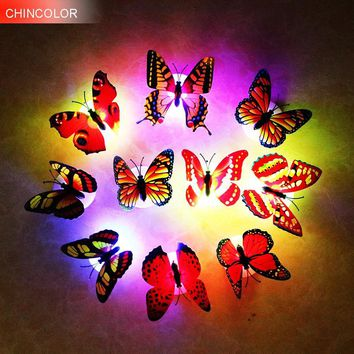 2pcs/lot Butterfly night light  Wall Stickers with retail box RGB LED Lamp Home living kid room Fridage bedroom Random color TR