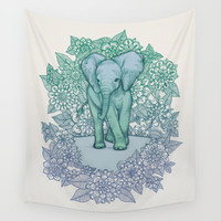 Emerald Elephant in the Lilac Evening Wall Tapestry by Micklyn