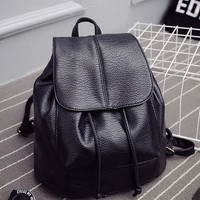 Fashion Black PU Backpack for Women