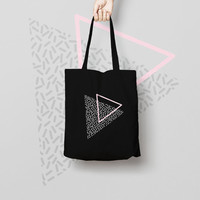 Printed Black Tote Bag, Market Bag, Cotton Tote Bag,  Funny Grocery Bag, Designer Tote Bag, triangle tote bag, tote bag canvas