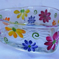 Gerber Daisies-hand painted candy dish-heart shaped dish, painted gerber daisies