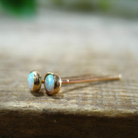 Stud Earrings Gold 3mm White Fire Opal