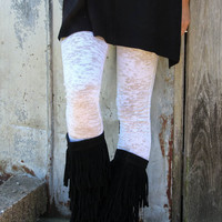 End of the Road White Burnout Leggings