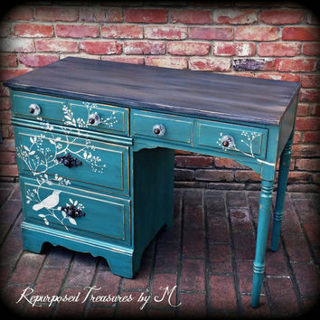 Vintage desk, stenciled desk,  distressed desk, rustic desk, bird desk, shabby chic desk, green vanity, distressed vanity, painted desk