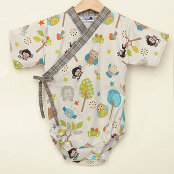 7b759147e Baby Kimono One piece in CREATURE FRIENDS sizes 0 through 24 months - baby  boy outfit
