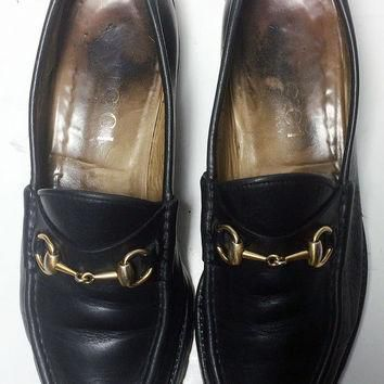 GUCCI Black Leather Loafers Men's Shoes Size 9 Size 42