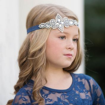 Isabelle Navy Blue Crystal Jewel Headband