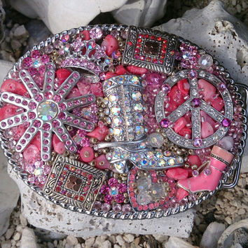 Pink Western Cowgirl Rodeo Bling Belt Buckle One Of A Kind
