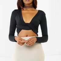 Knot Me Crop Top - Black