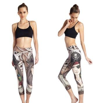 Pirate Wench Women's Yoga Running Workout Capri Tights White High Waist Fitness Sports Leggings Sexy Slim Skinny Trouser Dry Fit