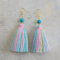 Pastel Tassel Earrings with Turquoise Beads