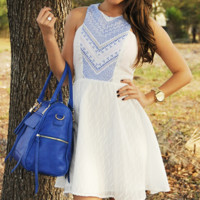 Blown Away Dress: White/Blue