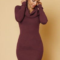 This Lovely Fall Sweater Mini Dress Burgundy