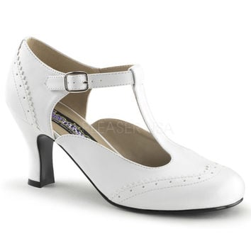 Funtasma White T-strap Kitten Heels