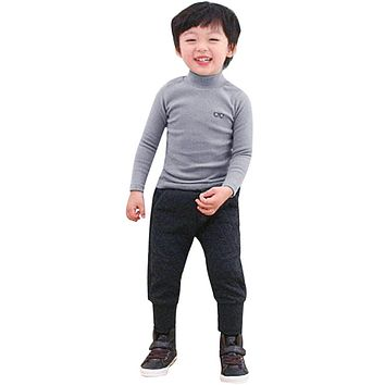 New Soft Cotton Boys Girls Turtleneck T-shirt Spring Autumn Glasses Print Long Sleeve T-shirt Tops Clothes for 2-7y Kids