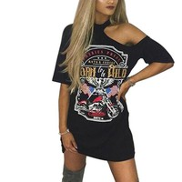 Born to be wild cutout fashion distressed tshirt dress
