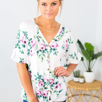 Let's Get Lost In A Dream Button Down- Ivory
