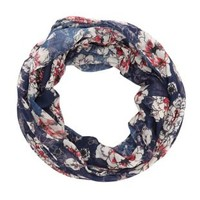 Navy Combo Floral Print Infinity Scarf by Charlotte Russe