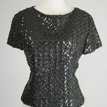 Vintage 1950's Black Sequined Top L Bombshell Pin-up Fitted