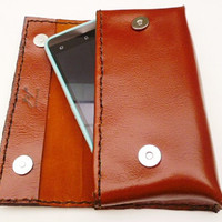Iphone 6 plus brown leather android phone case