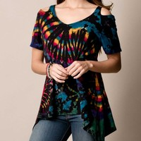 Tie-Dye Cold Shoulder Top - Black Only