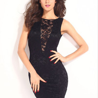 Black Sleeveless Lace Bodycon Mini Dress