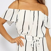 White Black Vertical Stripe Short Sleeve Off The Shoulder Tie Waist Short Romper