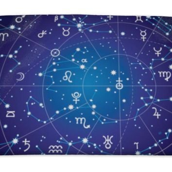 Bath Mat, Astronomy Xii Constellations Zodiac Ultraviolet Blueprint Version